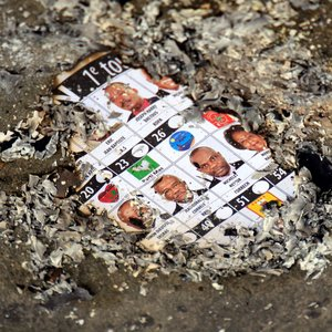 Burned ballot in Haiti elections.