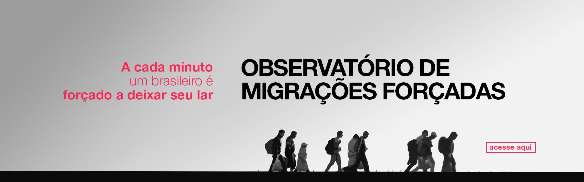 banner do observatório de migrações forçadas. Para acessar clique aqui