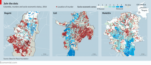 chart from the economist showing the geografical location of murders in different colombian cities